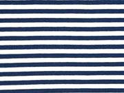 Jersey Streifen 1 cm garngefärbt, dunkelblau weiss