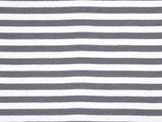 Jersey Streifen 1 cm garngefärbt, grau weiss