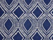 Leinenlook graphisches Muster, dunkelblau