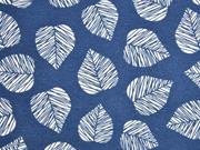 Dekostoff Blätter, dunkelblau
