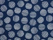 Dekostoff gestreifte Kreise, dunkelblau