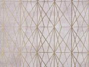 RESTSTÜCK 23 cm Dekostoff grafisches Muster Half Panama, goldfarbig beige