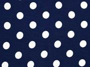 Viskosejersey Punkte 1,3 cm weiss dunkelblau