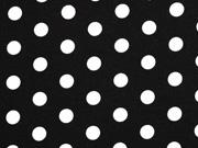 Viskosejersey Punkte 1,3 cm, weiß schwarz