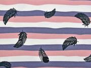 Jersey Streifen mit Federn, altrosa grau weiss
