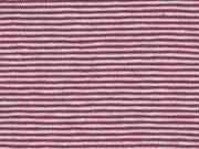 RESTSTÜCK 33 cm Jersey Streifen 1 mm Garn gefärbt,bordeaux