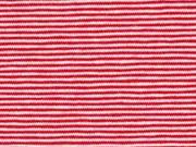 Jersey Streifen 1 mm Garn gefärbt, rot