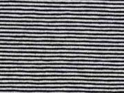 Jersey Streifen 1 mm Garn gefärbt, schwarz