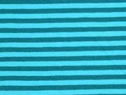 RESTSTÜCK 69 CM Jersey Streifen 4 mm garngefärbt, petrol aquamarin