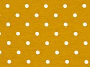 Jersey Punkte 4 mm, ocker weiss