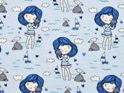 Jersey Strandmädchen maritim, hellblau blau