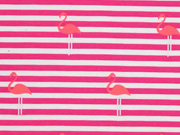 RESTSTÜCK 97 cm Jersey Streifen Flamingos, pink neon pink