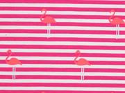 Jersey Streifen Flamingos, pink neon pink