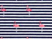 Jersey Streifen Flamingos, dunkelblau neonpink