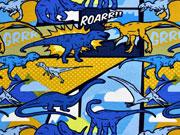 RESTSTÜCK 37 cm Jersey Comic Dinos, blau ocker