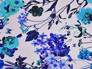 French Terry Blumen Magnolien, weiss türkis