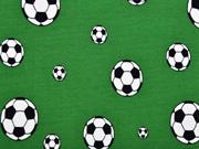 Jerseystoff Fußball Fußbälle, schwarz weiß grün