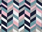 Dekostoff grafisches Muster, rosa mint navy