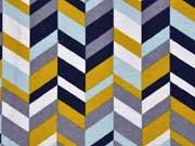 Dekostoff grafisches Muster ocker mint navy