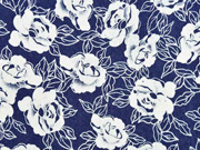 Stretchjeansstoff Blumen, weiß auf dunkelblau