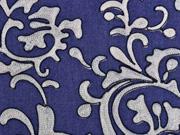 Jeansstoff Stickerei Ranken, beige auf dunkelblau