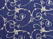 Jeansstoff Stickerei Kelchblumen , dunkelblau