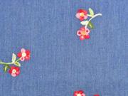 Jeansstoff Stickerei Blümchen, jeansblau