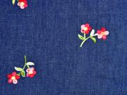 Jeansstoff Stickerei Blümchen, dunkel jeansblau