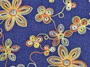 Jeansstoff Stickerei Blumenranken, orange gelb jeansblau