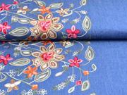 Jeansstoff Stickerei Bordüre Blumen, jeansblau