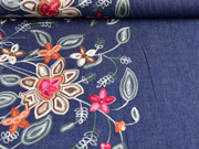 Jeansstoff Stickerei Bordüre Blumen, dunkelblau