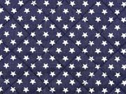 Steppstoff Jeans wattiert Sterne, dunkelblau