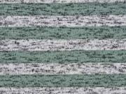 Strickstoff Streifen angeraut, mint grau