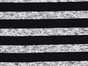 Strickstoff Streifen angeraut, schwarz grau