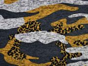 Strickstoff Camouflage angeraut, ocker