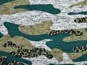 Strickstoff Camouflage angeraut, flaschengrün