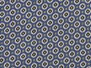 Viskose Blumenräder, dunkles jeansblau