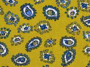 Blusenstoff Kreppstoff Paisley Muster, petrol senfgelb