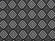 RESTSTÜCK 38 cm Viskose Jersey Rauten Inkamuster, schwarz weiß