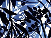 Viskose Jersey Blumen, jeansblau
