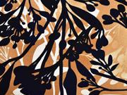 Viskose Jersey Blumen, ocker