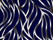 Viskose Jersey grafische Ranken, dunkelblau