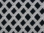 Viskose Jersey Rauten Gitternetz, schwarz