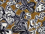 French Terry Sweat Viskose Blumen Afrika, ocker