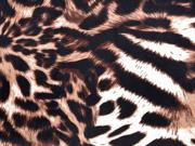 elastischer Samt Leoparden Muster, beige braun