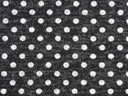 Jerseystoff Strickjersey Punkte meliert, schwarz