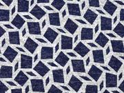 Strickjersey grafisches Muster Rauten, dunkelblau