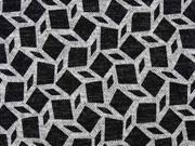 Strickjersey grafisches Muster Rauten, schwarz