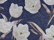 Strickjersey Blumen Tulpen, beige dunkelblau