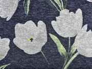 Strickjersey Blumen Tulpen, hellgrau anthrazit
